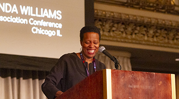 Amanda Williams speaks at Convocation at CAA's 108th Annual Conference in Chicago.